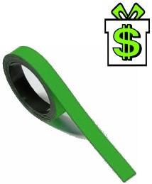 Magnetická páska 5 m x 1cm zelená na tabuli (magnetický pásek zelený 500 cm 10 mm lišta z magnetické folie magnetickou tabule)