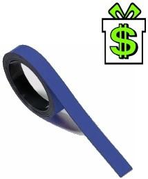 Magnetická páska 5 m x 1cm modrá na tabuli (magnetický pásek modrý 500 cm 10 mm lišta z magnetické folie magnetickou tabule)