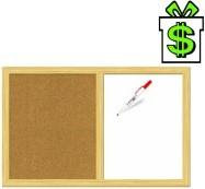 Kombinovaná nástěnka 90 x 60 cm bílá a korková tabule (dřevěný rám magnetická popisovatelná nástěnná dvoudílná nástěná)