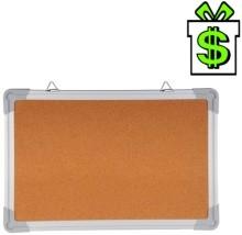Korková nástěnka s hliníkovým rámem 60 x 45 cm, nástěnná tabule korek v hliníkovém rámu, ALU AL hliníkový rám 600 x 450 mm