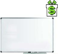 Magnetická bílá tabule 60 x 45 cm v hliníkovém AL ALU rámu s odkládací lištou, malá lakovaná stíratelná nástěnka (70 50 40)