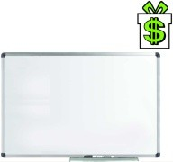 Magnetická tabule bílá 90 x 60 cm v hliníkovém AL ALU rámu s odkládací lištou, popisovatelná stíratelná nástěnka (100 1 m)