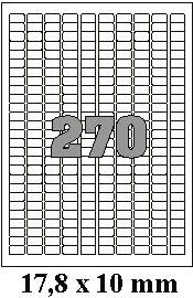 Etikety 17,8 x 10 mm na archu A4, 100 listů (samolepící labely podobné: 17 x 10 mm, 18 x 10 mm, 2 x 1 cm, 20 x 10 mm)