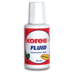 Opravný lak KORES Fluid štěteček 20 ml (korekční bílý se štetečkem na korektury)