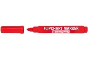 Červený popisovač 2,5 mm na papír flipchart Centropen 8550 (centrofix popisovače fix červená fixa fixy značkovač značkovače)