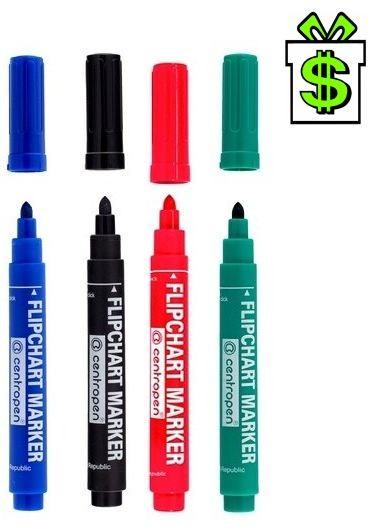 Popisovače 2,5 mm na papír flipchart, sada 4ks Centropen 8550 (barevné fixy vodní značkovače fixa popisovač značkovač papíry)