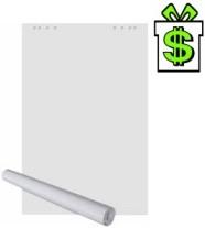Papír čistý na flipchart tabuli 20 listů (papíry 65 x 98 cm náhradní bloky blok bílý do flipchartu flip-chart flip chart tabule)