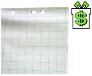 Papír čtvereček na flipchart tabuli 20 listů (náhradní papíry bloky blok do flipchartu tabule rastr čtverečkový čtverečkovaný)